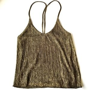 TopShop Golden Shimmery Strappy Cami Tank Size 2